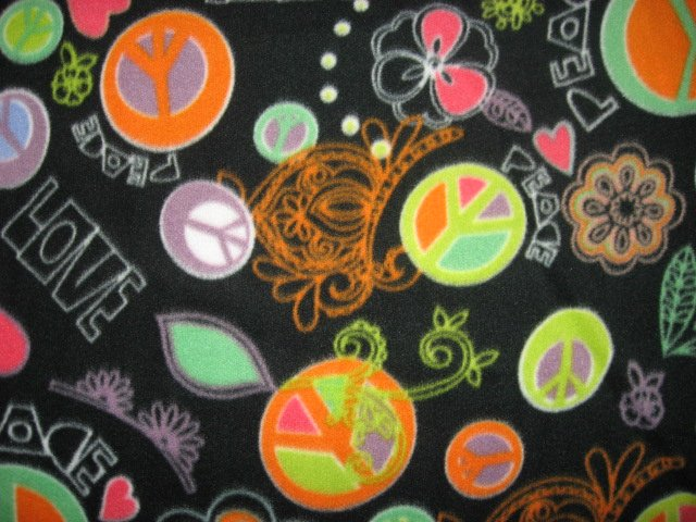Peace signs with Flowers and Hearts Fleece blanket 72