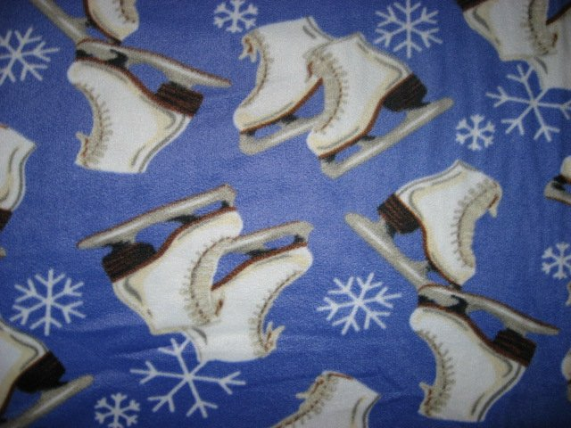 Image 0 of Ice Skates Skating Snowflakes Periwinkle fleece blanket Finished edge