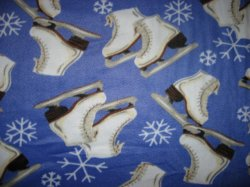 Thumbnail of Ice Skates Skating Snowflakes Periwinkle fleece blanket Finished edge