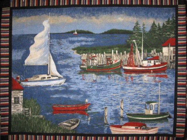 Harbor Scene Sailboats Pines Fleece Blanket Throw Panel with finished edges