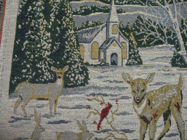 Deer Cardinal Bunny Squirrel Church Tapestry Panel or chair cushion to sew