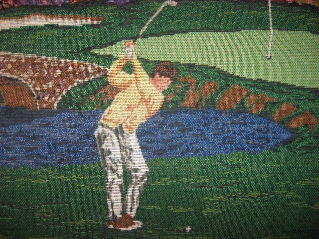 Image 0 of Golf Golfer Golfing Club Tapestry Fabric Cushion or Pillow Panel