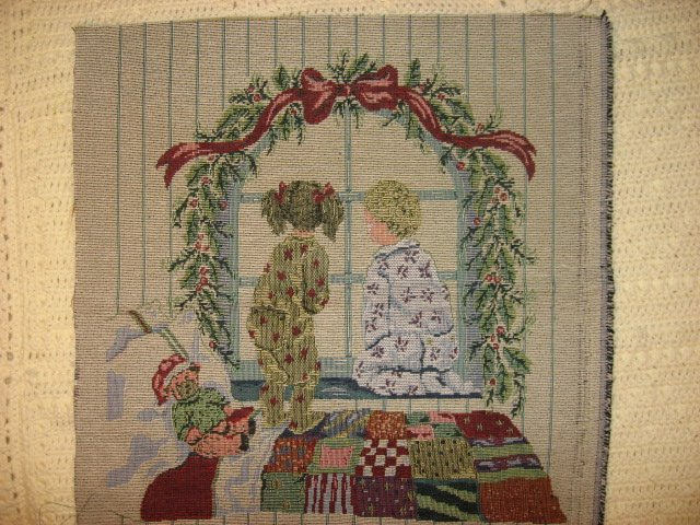 Children Waiting For Christmas Tapestry chair Cushion or Pillow Panel
