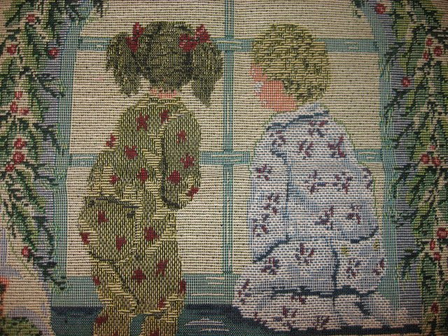 Image 1 of Children Waiting For Christmas Tapestry chair Cushion or Pillow Panel