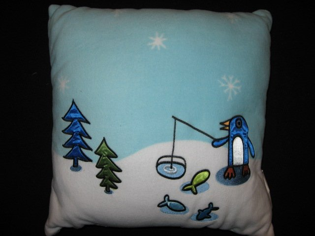 Martha Stewart Winter Penguin Embroidered Fleece Pillow