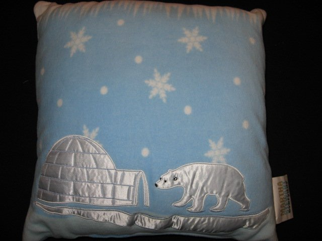 Martha Stewart Bear ice Igloo Embroidered Fleece Pillow