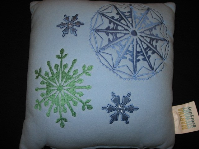 Martha Stewart Snowflakes Embroidered Fleece Pillow