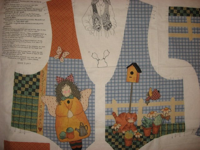 Whimsical Garden Angel Bird House Fabric Vest to sew