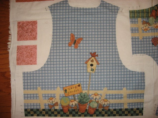 Image 1 of Whimsical Garden Angel Bird House Fabric Vest to sew