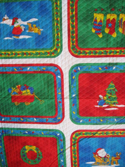 Chistmas Candle and Santa six reversable Quilted Placemat panels Fabric to sew