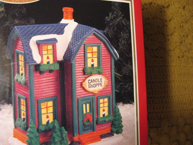Image 1 of Dickens Town Series Lighted Candle Shoppe used in box