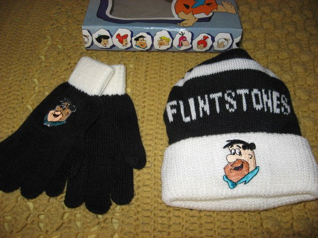 Image 1 of Flinstones Fred Hat and Gloves set 1994 NIB collectible Child Size 7-14