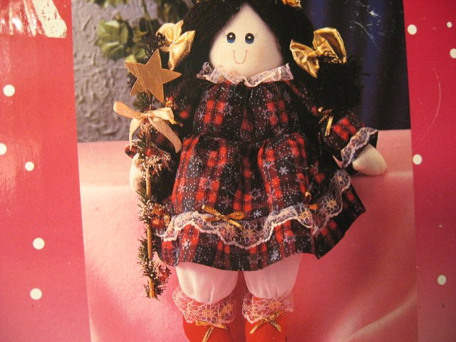 Image 1 of Christmas angel shelf sitter with plaid dress star doll ornament New in box