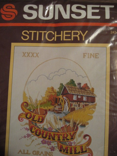 Sunset Old Country Mill Picture Embroidery Kit to Make