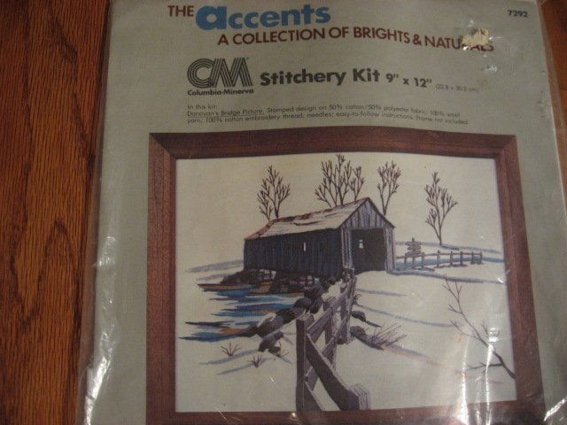 Image 0 of Donovan's Covered Bridge Picture Embroidery Kit to Make