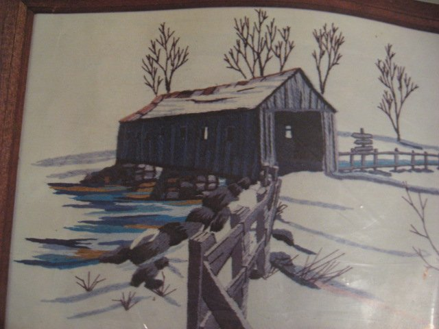 Image 1 of Donovan's Covered Bridge Picture Embroidery Kit to Make