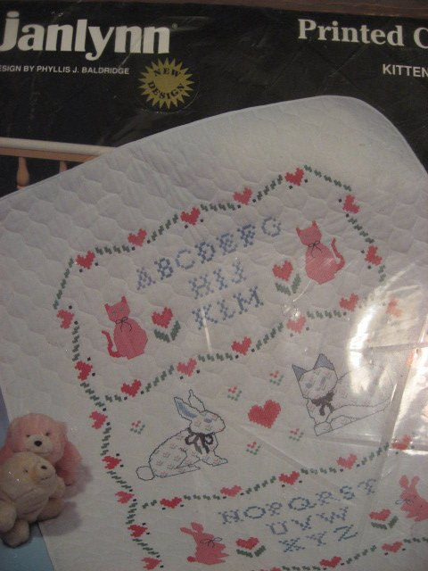 Image 0 of Janlynn printed cross stitch kitty bunny Baby Quilt to sew