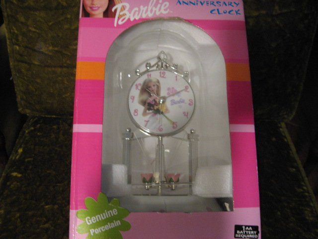 Barbie Anniversary 9 Clock Porcelain Glass Dome New in box