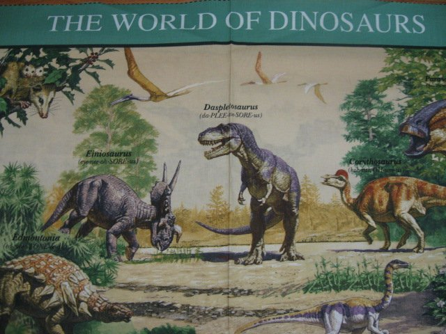 Dinosaur Prehistoric Animal Teacher United States Postal all cotton fabric panel