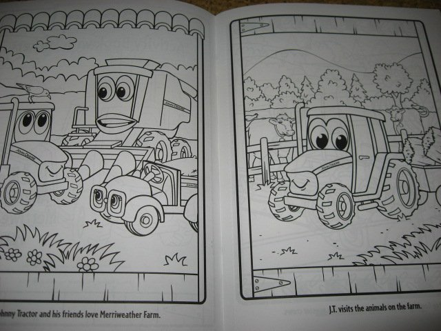 Image 1 of John Deere Coloring activity Book Stickers Poster Chart with Crayons /