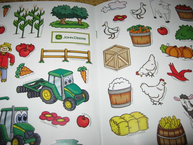 Image 4 of John Deere Coloring activity Book Stickers Poster Chart with Crayons /