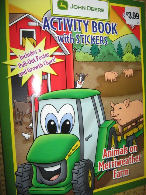 John Deere Activity Coloring Book Stickers Poster Chart with Crayons /
