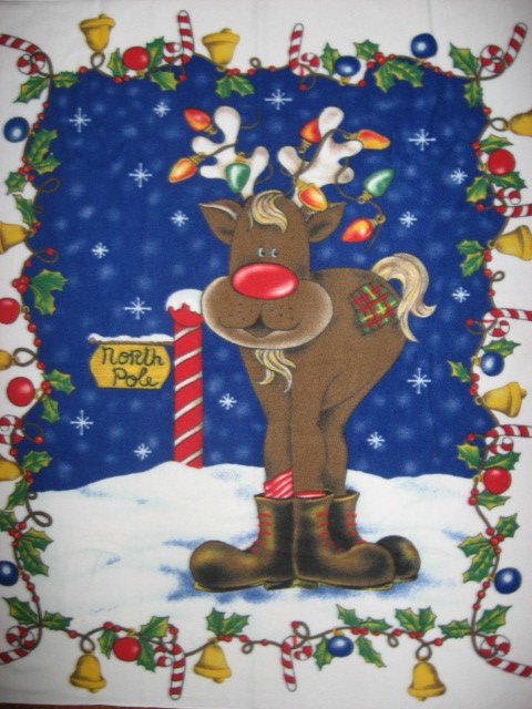 Rudolph tangled in Christmas Lights Fleece Blanket Rare Last one