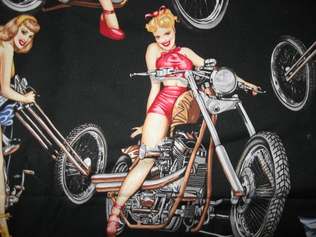 Image 1 of Sexy Motorcycle Pinup Girl Biker Fabric 1/4 yard out of print rare 2003