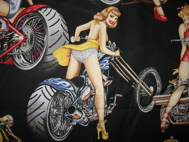 Image 2 of Sexy Motorcycle Pinup Girl Biker Fabric 1/4 yard out of print rare 2003