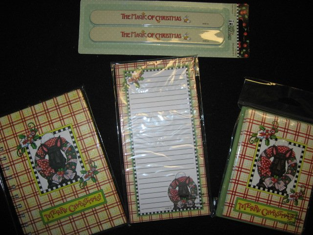 Mary Engelbreit Christmas Scottie dog magnetic List pad Note Cards and Book