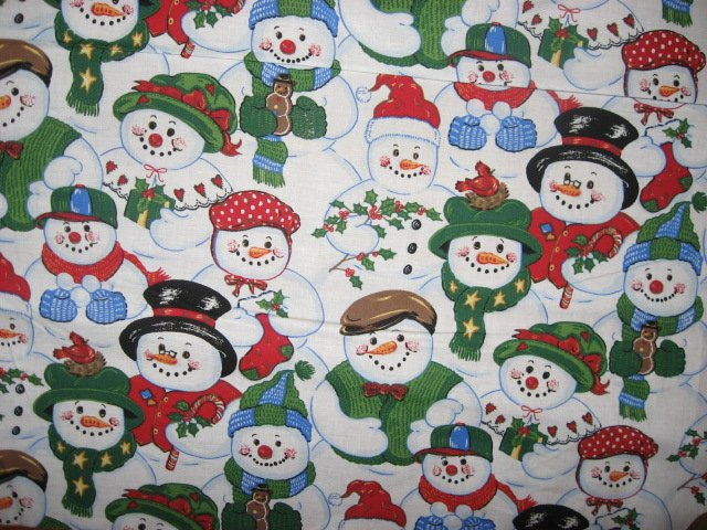 Jolly Snowmen in hats Christmas 100% cotton fabric by the yard