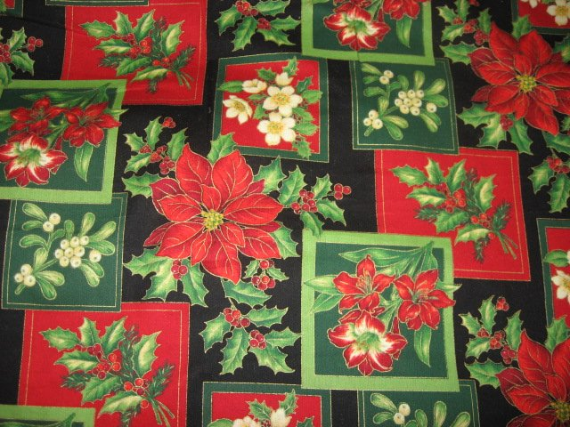 Image 0 of Christmas Mistletoe Holly Pointsettia Cotton Fabric by the yard