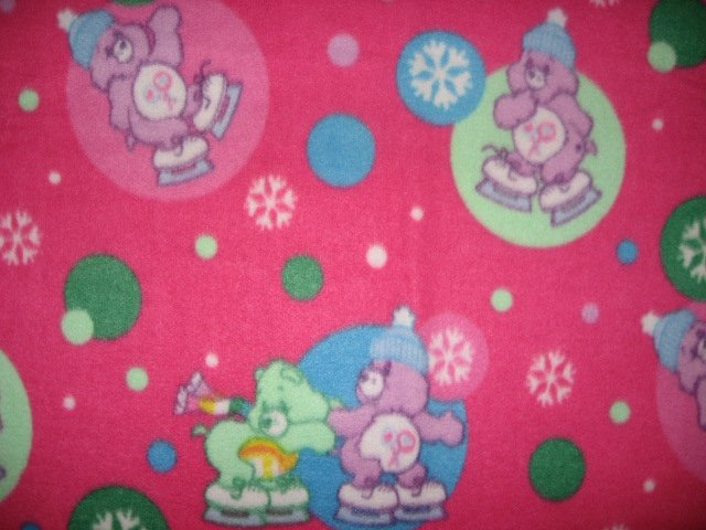 Image 1 of Care Bears and skates raspberry child fleece bed blanket 60