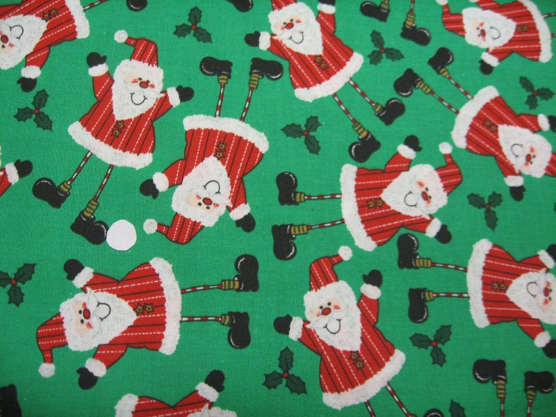 Santa and Holly at Christmas Whimsical Quilt Sewing fabric by the yard