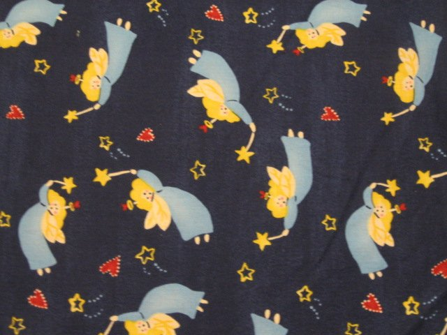 Image 0 of Angels Joy Star Heart Blue Christmas Sewing cotton fabric by the yard