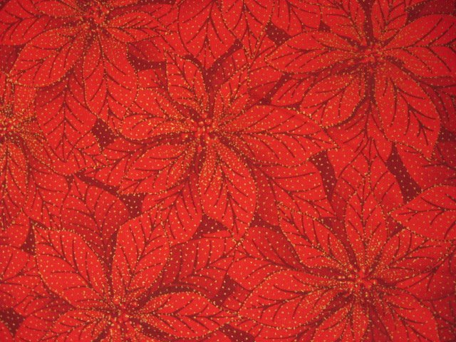 Pointsettia Flower Gilded Christmas Sewing Quilt Fabric by the yard