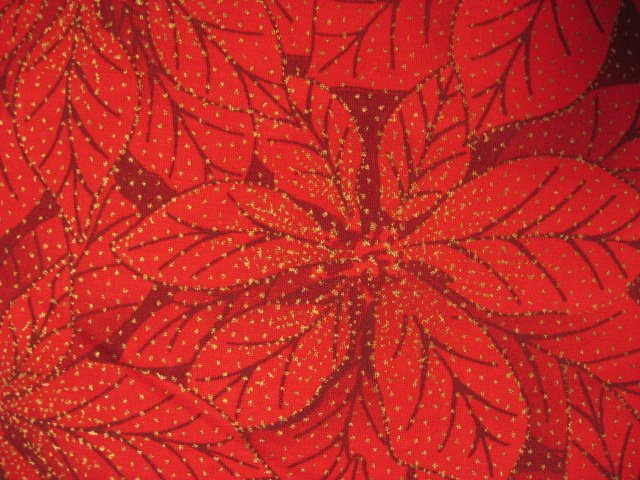 Image 1 of Pointsettia Flower Gilded Christmas Sewing Quilt Fabric by the yard