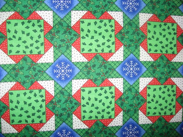 Snowflakes and Christmas Trees Cheater Quilt Sewing Fabric by the yard