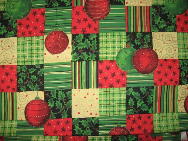 Stripes Squares Stars and Christmas Bulbs Cotton Fabric By the yard