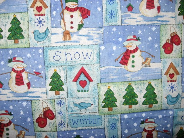 Snowmen with Mittens and Bird Houses Christmas Fabric by the yard