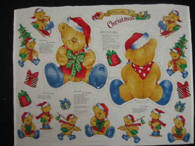 Rambling Ted Christmas Teddy Bear Fabric Panel to sew