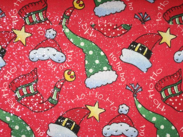 Hats Sparkling Red Christmas Patty Reed fabric by the yard