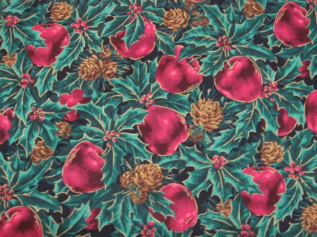 Christmas Apples Pine Cones and Holly Gilded cotton fabric by the yard
