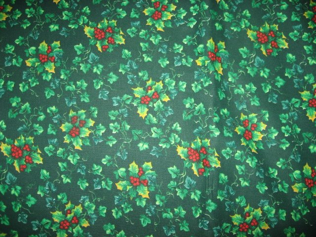 Holly and Berries green Cotton Christmas fabric by the yard