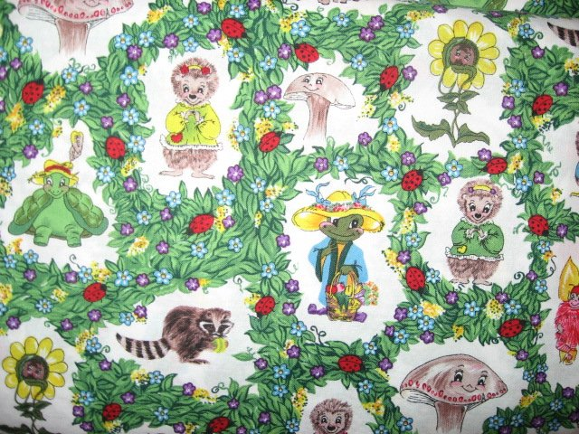 Katrinka Sweet Blossom Raccoon Frog Owl mushroom Cotton fabric by the yard