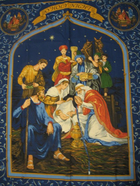 Image 0 of Christmas Jesus Nativity dark blue Wall Throw Fabric Panel to sew