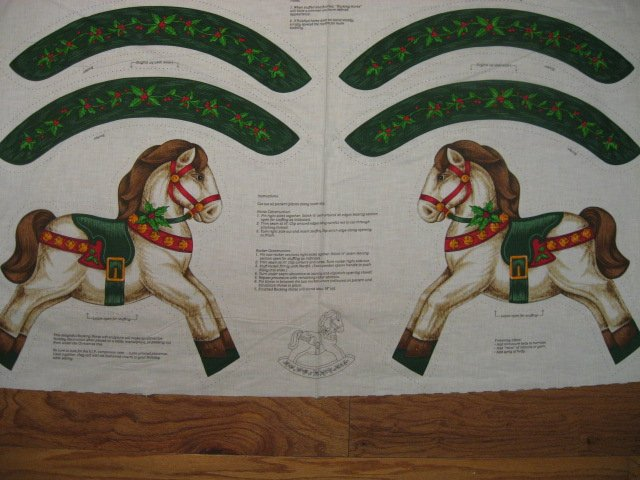 Christmas Rocking Horse Fabric Panel with a Vintage Look to sew//