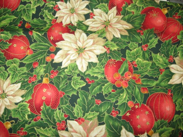 Gilded ornaments Pointsettia Christmas Cotton Fabric by the yard