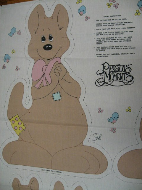 Kangaroo Fabric Precious Moments  doll To cut and Sew