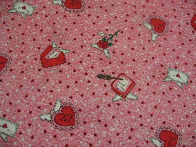 Valentines Day Hearts angels and Love Letters Sewing Fabric by the yard
